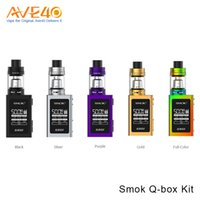 Wholesale Wholesale Small Metal Boxes - Authentic Smok Q-box 50W TC Small Kit with TFV8 Baby Tank Big OLED Screen V8-Baby M2 0.25ohm Dual Coils