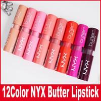 ingrosso lip glosses prezzi-12 colori donne NYX Burro rossetto prezzo di fabbrica Long Lasting Lip Gloss Trucco professionale NYX Butter Liptstick