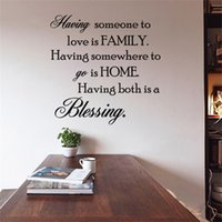 Wholesale Home Family Blessing Wall Decal - 58x58cm English Motto Family Home Blessing Wall Sticker Removable Art Mural Decal for Home Decoration Children's Bedroom Kids Room
