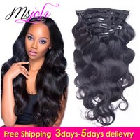 7A Clip de cheveux humain brésilien dans l'extension Body Wave Full Head Natural Color 7Pcs / lot 12-28 Pouces de Ms Joli