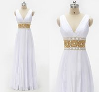 Wholesale Gold Crystal Sash - Simple Beach Wedding Dresses 2017 Sexy V-neck Pleats Draped Sash Gold Crystal Backless Floor Length Chiffon Bridal Dress Wedding Party Dress