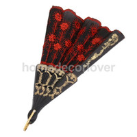 Wholesale Embroidered Hand Fan - Wholesale- Spanish Folding Hand Fan Silk Embroidered Sequin Wedding Dance Party Favours