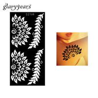 tatuaje con aerógrafo flores al por mayor-Al por mayor-1 pieza de tatuaje de henna hueco plantilla aerógrafo pintura flores rama brazo femenino arte corporal plantilla de tatuaje de henna originalidad S2106