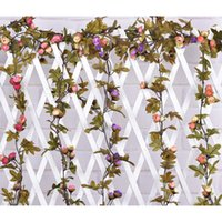 Wholesale leaf garland wholesale - Artificial Rose Flowers Vines Party Decorations 220cm Length Vitange Flowers Ivy Vine Leaf Garland for Wedding Party Home Decor Decorations