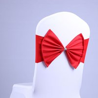 Wholesale Chair Tie Backs - Hot Spandex Lycra Chair Sashes Elastic Satin Chair Bands with Buckle for Wedding Bow Tie Backs Props Bowknot Chair Cover Sashes