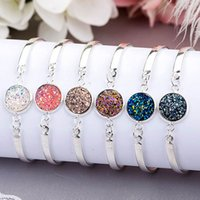 Wholesale Good Fashion Jewelry - Good Quality Fashion Druzy Bangles Vintage Natural Geode Stone Jewelry Rhinestone Pave Druse Women Bracelets
