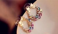 Wholesale Jewelled Earrings - South Korean hot sell fully-jewelled rhinestone bow earrings vintage flower earrings women pop studs Free Shipping