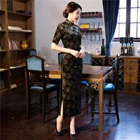 uzun kollu qipao elbisesi toptan satış-Shanghai Hikaye çince geleneksel elbise Kadife Uzun Qipao çin tarzı Yarım Kollu Vintage cheongsam elbise Oryantal Tarzı Elbise
