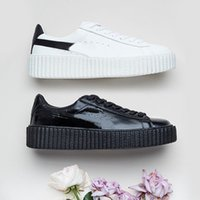 Wholesale 2017 Cheap Discount Buty Fenty Rihanna Creeper Fashion Men Women Black White Wrinkled Patent Leather Velvet Casual Shoes Trainers Size
