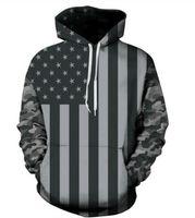 Wholesale Hoodie Stars Stripes - Wholesale- Grey Camouflage Star Stripe Print Hoodies American Flag Unisex Sweatshirt Jogger wave pattern Pullover Sweatshirt Streetwear