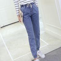 Wholesale Tight Cowboy - Wholesale- S-5XL Large size cowboy tight high waist jeans wide leg boyfriends jeans trousers for women fat 100kg