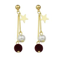 Wholesale Gold Stick Earrings - Fashion Gold Color Pearl Star Long Dangle Earrings