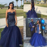 Wholesale Sexy Ivory Corsets - Dark Navy Mermaid Prom Dresses 2017 Stunning Beaded Sweetheart Corset Back Black Girls Pageant Evening Gowns with Puffy Train Plus Size