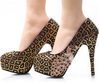 Wholesale Auger Pump - New Big yards leopard phoenix nightclub slipper shoes diamond wedding shoes diamond bride set auger handmade shoes