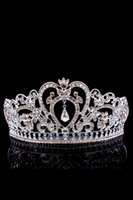 Wholesale Cheap Sterling Silver Crown - Sparkle Crystals Beaded Wedding Crowns 2017 Bridal Crystal Veil Tiara Crowns Headband Hair Accessories Party Wedding Tiaras Cheap Free