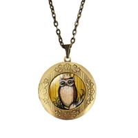 medallones búho vintage al por mayor-(12 Unids / lote) 70 CM Longitud Mix Owl Collar Cabochon Joyería Vintage Owl Locket Colgante Collar 20 MM Cabochon