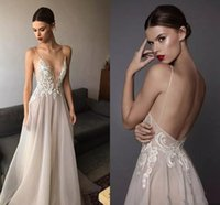 Wholesale gold embroidered wedding dress - 2017 Sexy Berta Wedding Dresses Deep V Neck Spaghetti Straps Embroidered Tulle Backless Summer Illusion Long Boho Bridal Gowns For Beach