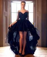 Wholesale low back off shoulder wedding dresses for sale - Group buy New Short Front Long Back Gothic Black Lace Wedding Dresses With Sleeves Off the Shoulder Sexy Colorful High Low Bridal Gowns