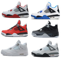 Wholesale Mens Pure White Shoes - High Quality air retro 4 IV mens basketball shoes Pure Money Bred Oreo Fire Red White Cement CAVS Motosports Military Blue Athletic shoes