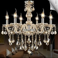 Wholesale crystal chrome ceiling lights - Chrome led crystal chandelier lighting Indoor home ceiling decoration lustre de cristal teto modern chandeliers for Dining room