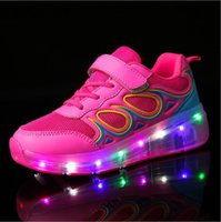 Wholesale Roller Skates Junior - 2017 Junior Girls & Boys LED Light Heelys Children Roller Skate Shoes Kids Sneakers With Wheels Free Shipping