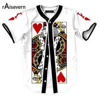 Wholesale Poker Sleeve - Wholesale- New Funny Pokers Design Mens Shirts The King Of Hearts Print Short Sleeve Baseball Shirts Harajuku Men Women Hip Hop Shirts Tops
