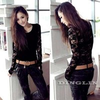 Wholesale Stylish Party Shirts - Wholesale-2016 Fashion Stylish Women's Long Sleeve O-Neck Top Lace Floral Print Hollow Out Black Women Sexy Party T-Shirt Tops Tee CL1328