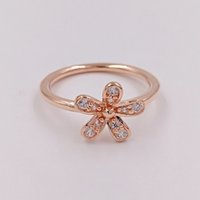Rose Gold Plated 925 Sterling Silver Ring Dazzling Daisy European Pandora Style Jewelry Anillo de regalo 180932CZ