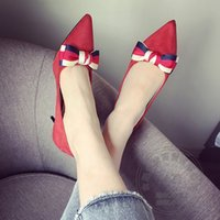 Wholesale Cheap Waterproof Shoes China - Pointy Decoration Stiletto heel Hot Selling Cheap Shoes China Red Heels Pumps Bow Prom High Quality Show Special Offer Models