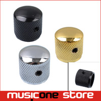 Wholesale Gold Guitar Screws - Wholesale- Metal Dome Tone Tunning Knob with Hexagon Screws Lock Volume Control Buttons for Electric Guitar Bass Black Chrome Gold