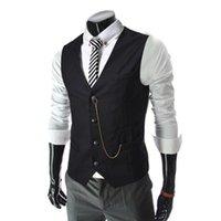 Wholesale chaleco slim fit - Wholesale- 2017 Spring Mens Casual Slim Fit Vest Men Fashion Waistcoat Sleeveless Suit Jacket Coat Gilet Chaleco Hombre AQ80007
