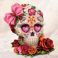 Wholesale cm paint - Skull Flower Full Drill DIY Mosaic Needlework Diamond Painting Embroidery Cross Stitch Craft Kit Wall Home Hanging Decor