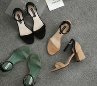 Wholesale Korean Summer W - 2017 summer new version of the Korean version of the rough with high heels round face round color fight women's sandals shoes