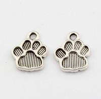 Wholesale Zinc Alloy Paw Print Charm - Hot ! 200pcs Antiqued Silver zinc Alloy Paw Print Charms Pendant 12*15mm DIY Jewelry