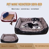 Wholesale New Sofa Leather - New Autumn Winter Luxurious Breathable Wave Cotton Leather Materia Pet Sofa Bed Medium-sized And Large Cats And Dogs Comfort