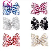 Wholesale Assorted Hair - 8 Inch Chevron Jumbo Hair Bow Assorted Color Glitter Headwear Boutique Hair Clip For Girl Kid