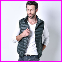 Wholesale Men S White Sleeveless Jacket - Wholesale- Winter Autumn Men Down Vest Ultra Light Down Sleeveless Jacket Mens Brand 90% white Duck Down Vest Jacket 2017