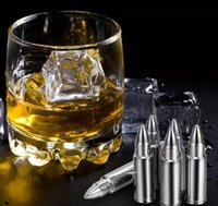 Wholesale Stainless Steel Ice Cubes Glacier - Bullet Shape Stainless Steel Whiskey Stones Ice Cubes Cooler Stone Wine Beer Cooling Cube Soapstone Glacier Cooler Stone 6pcs 1 lot