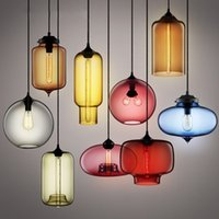 Wholesale Brown Lampshade - Modern Art glass chandelier Ceiling Lamp Pendant Lights Glass Lampshade Loft Pendant Lamps E27 85V-265V Lighting Fixture