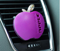 Wholesale Accessories For Automobiles - Gel Perfume for Car Air-conditioning Outlet 6 Color Small Apple Design Purple Blue Pink Automobile Interior Accessories Air Freshener lot