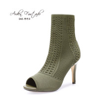Wholesale Ladies Green Ankle Boots - Arden Furtado Women Shoes Sexy 2017 Summer Short ankle Boots Ladies Fashion High Heels Woman stretch boots thin heels fish mouth Martin boot