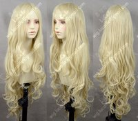 Wholesale Blonde Lolita - 100% Brand New High Quality Fashion Picture full lace wigs>Milk Blonde Wavy Lolita Princess Party Cosplay Wig 80cm Free Shipping