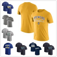 Wholesale Crew Neck Bat Sleeves - Free Shipping Men Milwaukee Brewers Heathered Gray Practice T-Shirt Royal Victory Arch Royal Batting Practice Logo Legend size S-4XL