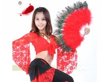 Wholesale elegant fancy folding hand fans for sale - Group buy Elegant Peacock feather Hand Fan Dance Fancy Props Dress Wedding Costume Dance Folding Fan Halloween Phantom Party Supplies color