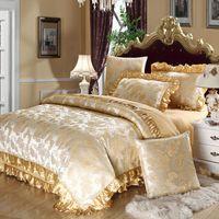 king size jacquard bettwäsche gesetzt großhandel-Großhandel-Luxus Jacquard Bettdecke Baumwolle Satin Bettwäsche Set Königin King Size 4pc oder 6pcs Bettbezug-Sets