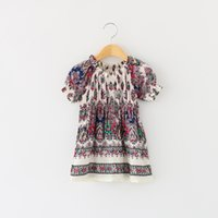 Wholesale Embroidered Dress Short - 2017 New Girls Floral Vintage Party Dress Ruffles Puff Sleeve Cotton Dress Summer Fall Western Cute Dresses