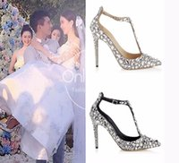 Wholesale Jeweled High Heeled Shoes - 2017 Luxury Diamond Wedding Shoe Jeweled Heel Gladiator Sandals Women Rhinestone Crystal Embellished T Strap Summer Party Pumps