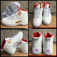 Wholesale Chinese Canvas Sneakers - 2017 Retro 12 Chinese New Year GS 12s CNY Basketball Shoes For Men cheap White Red Suede Retros XII Mens Sports Sneakers 8-13