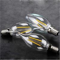 e14 edison led glühbirne großhandel-High Bright LED-Leuchten Edison Glühfaden Dimmbare Kerzenlampe 2W 4W 6W E14 E12 E27 führte Birnen-Licht LED-Lampe Kerzenlicht