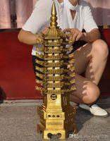 Wholesale Brass Pagoda - Chinese Religion Brass Buddhism Temple dragon head Wenchang Pagoda Stupa Tower